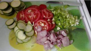 Gemüse für Pizza