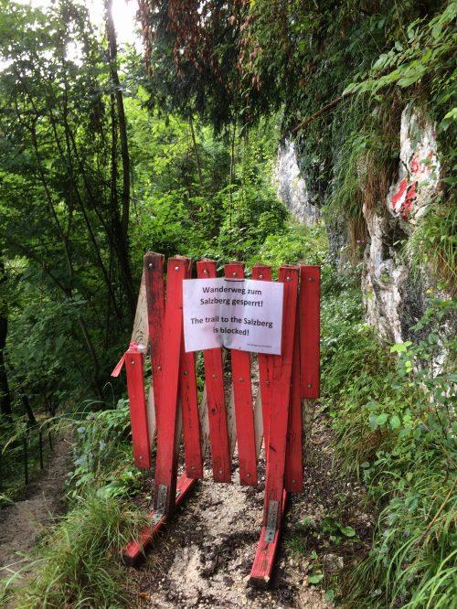 Der Wanderweg zum Salzberg war leider gesperrt